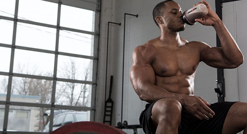 muscular body with sports nutrition